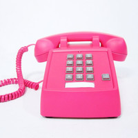 Neon Pink Vintage Phone push button telephone