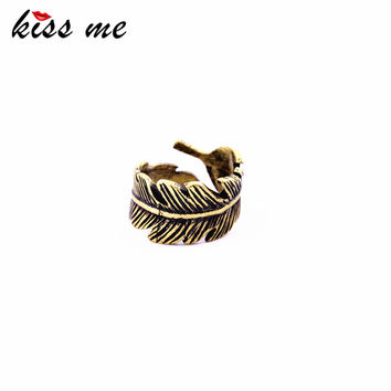Feather Wrap Ring Vintage Brass