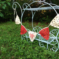 Crochet Bunting Banner  Flags  Pennants  red and cream by Parachet
