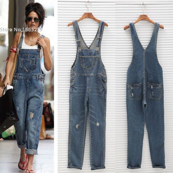 Rompers Womens Jumpsuit Combinaison Femme Girl Washed Jeans Denim Casual Hole Jumpsuit Sexy Romper Overall Bodysuit Playsuit
