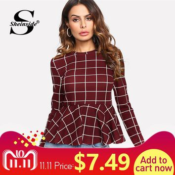 Sheinside Plaid Peplum Ruffle Office Ladies Work Elegant Blouse Grid Long Sleeve Fall Top Women 2018 Elegant Blouse Shirt