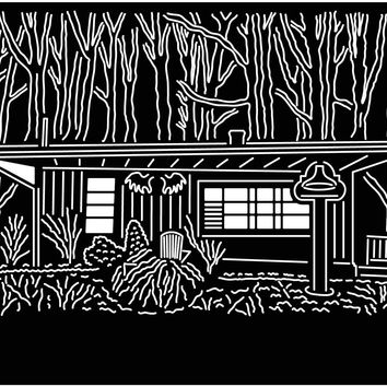 Cabin and Trees Scene