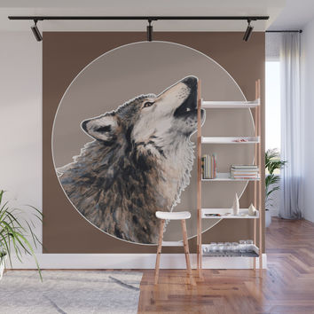 Grey wolf Wall Mural by savousepate