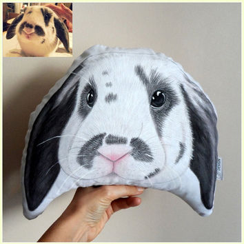 Custom Pet Portrait Plush Pillow, Personalized pet pillows, gift for pet lovers, rabbit portrait, cat portrait, dog portrait
