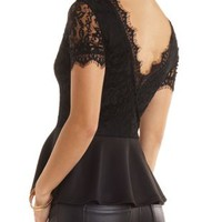 Deep V Lace Peplum Top by Charlotte Russe - Black