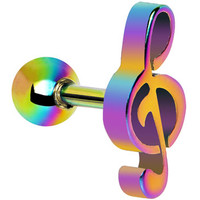 Rainbow Anodized Titanium Treble Clef Music Note Tragus Cartilage Stud | Body Candy Body Jewelry
