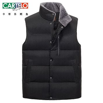 Cartelo/brand 2017 Winter Warm Vest Casual Coat Autumn Stand Fur Collar Men's Sleeveless Jacket Fashion Casual Coats For M