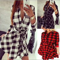 Vancol 2016 Denim Dress Women's Plaid Dress Black Vestidos Femininos V Neck Dress Shirt Checkered Summer Women Plus Size Dress