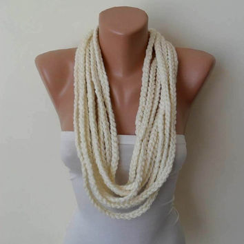 Mother's Day - Wool Crochet Knit Chain Necklace Scarf - Creamy White - Soft - Infinity - Loop - Circle - Circular - Cowl by Umbrella Design
