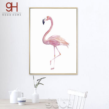 900D Posters And Prints Wall Art Canvas Painting Wall Pictures For Living Room Nordic Decoration Watercolor Flamingo S16020