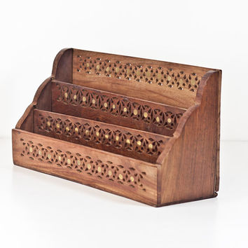 Vintage Wooden Desk Organizer, Hand Carved Wood Pen & Pencils Organizer, Office Desk Table Organizer, Pencil Holder, Inlay Box