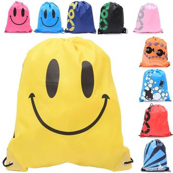 Emoji Drawstring Back Pack Cinch Sack Waterproof Gym Tote School Sport Shoe Bags