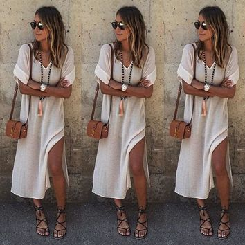 Hippie Boho Womens Summer Evening Cocktail Party Beach Long Maxi Dress S M L XL