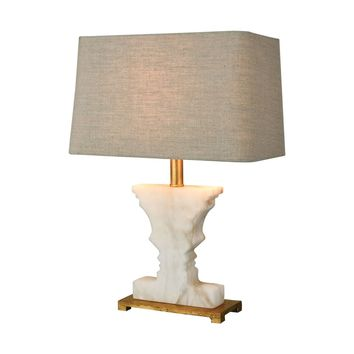 Cheviot Hills Table Lamp White Alabaster,Gold Leaf