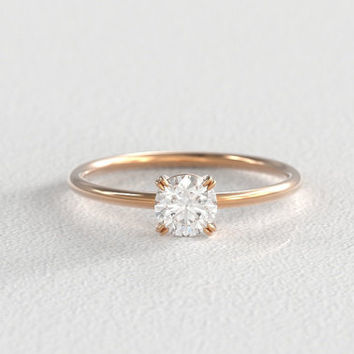 Half Carat Heirloom Vintage Recycled Diamond Solitaire Four Prong Engagement Ring set in Recycled 14k Gold with Simple Round Band