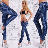 HOT Sexy Women's Slim Blue Skinny Jeans Low Cut Trousers Size 6,8,10,12,14