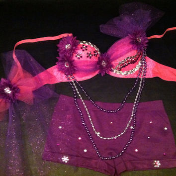 EDC, rhinestone & daisy Rave, Hippie, costume, dance, festival neon pink and purple bra top and shorts rave outfit
