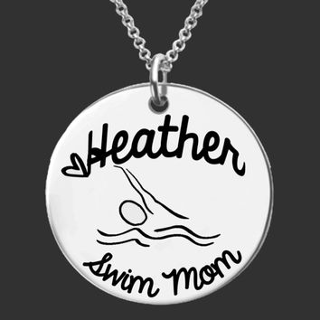 Swim Mom Personalized Necklace