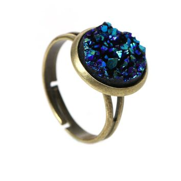 Round  Bronze Royal Blue Silver Gray Adjustable Rings
