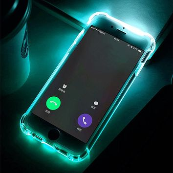 Phone Back Case Fundas For iPhone 7 Plus 5 5S SE 6 6S Cover Anti-Knock Soft TPU LED Flash Light Up Remind Incoming Call Cases
