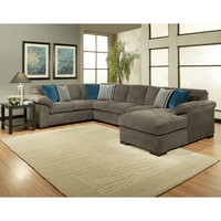 Furniture of America Fiercely 3-piece Micro-Denier Flannel Upholstered Sectional