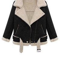 Lapel Lamb Wool Splicing Jacket