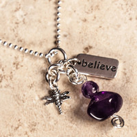 Sterling Silver Dragonfly Amethyst Believe Trinket Necklace