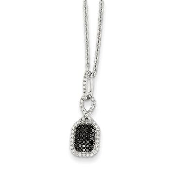 Black & White Diamond Small Rectangle Necklace in Sterling Silver