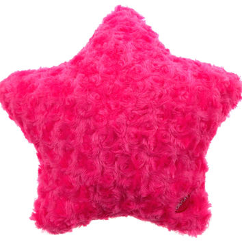 "Pink Star Pillow Multi Color LED Light Up Flash Plush Throw Couch 13"" Microbeads"