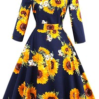 Atomic Dark Blue Sunflower Printed Swing Dress