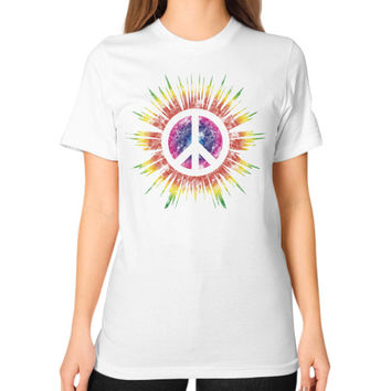 Tie Dye Peace Sign Unisex T-Shirt (on woman)