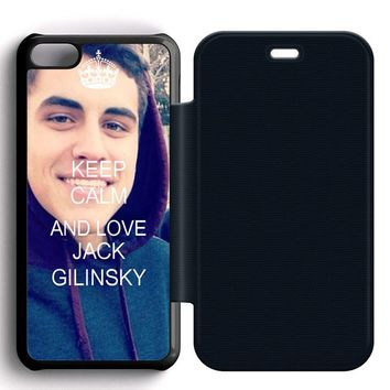 Keep Calm and Love Jack Gilinsky Leather Wallet Flip Case iPhone 5C