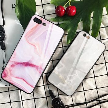 Beautiful Wihte Pink Marble Tempered Glass Soft Silicone Phone Case Shell Cover For Apple iPhone 6 6s 7 8 Plus X XR XS MAX