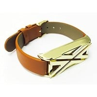 BSI Brown Leather Replacement Bracelet With Unique Style Rose Gold Metal Housing For Fitbit Flex Smart Band