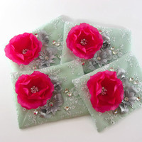 Zippered Wedding Purses with Magenta Flowers Set of 4, Mint Green Lace Clutch, Bridesmaid Clutch, Rhinestone Pouch, Cosmetic Bag, Makeup Bag