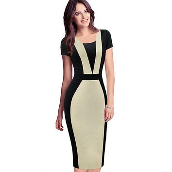 Vfemage Womens Elegant Optical Illusion Colorblock Contrast Modest Slim Work Business Casual Party Sheath Pencil Dress 2138