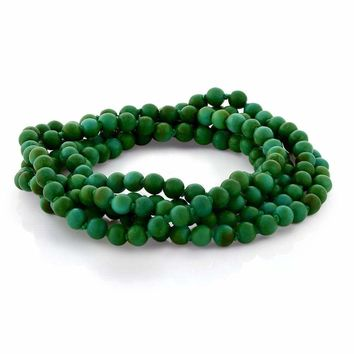 "6mm Green Simulated Turquoise Howlite Strand Beaded 44""Long Bracelet or Necklace"