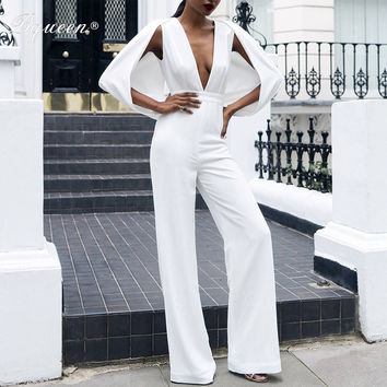 Bqueen 2016 New Solid White Summer Deep V Sexy Jumpsuits Cape Sleeve Pantsuits Hot