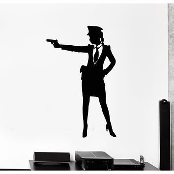 Vinyl Wall Decal Officer Cop Woman Female With Gun Weapon Stickers Mural (g2979)