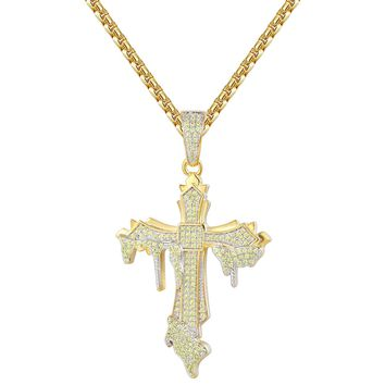 Canary Yellow Melting Cross Iced Out Religious Pendant Set