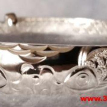 Handmade Japanese Double Koi Fish Design 999 Solid Fine Silver Adjustable Bangle