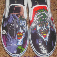 Custom Made Shoes (Example: Batman Joker Killing Joke Shoes) For Sale until Sept.!!