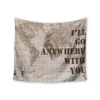 """Catherine Holcombe """"I'll Go Anywhere With You"""" Brown Map Wall Tapestry"""