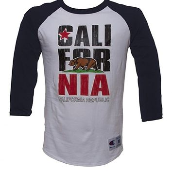 Mens California Republic Bear Half-Sleeve Baseball Shirt