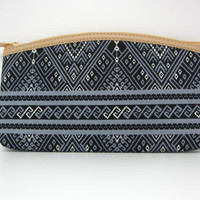 Handmade Thai Vintage Shot Wallet For Cosmetic, Coin, Cards with black color
