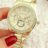 "Hot Sale ""Michael Kors"" MK New Trending Women Men Elegant Three Eye Diamond Quartz Movement Watches Wristwatch I-Fushida-8899"