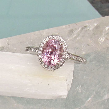 Orchid Pink Spinel 1.86cts14k White gold Diamond Halo Engagement Ring Weddings Anniversary