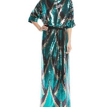 Marc Jacobs Drape-Back Belted Sequin Evening Gown