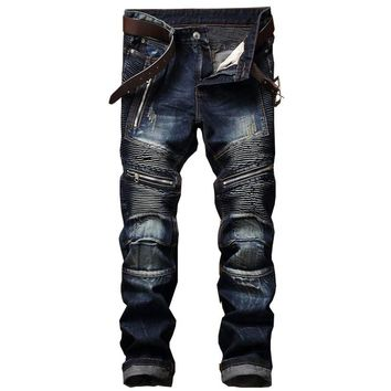 Blue Print  Biker Men Jeans Ripped Slim Fit Hip Hop Denim Trousers Men`s Jeans High Quality Motorcycle Pants Punk Homme