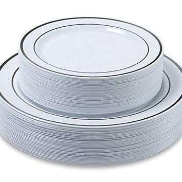 """Disposable Plastic Plates - 60 Pack - 30 x 10.25"""" Dinner and 30 x 7.5"""" Salad Combo - Silver Trim Real China Design - Premium Heavy Duty - By Aya's Cutlery Kingdom"""